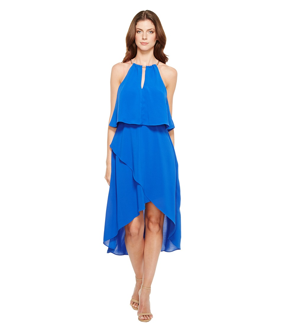 Adrianna Papell Gauzy Crepe Popover High-Low Dress with Wrap Skirt and Hardware on Neckline (Bright Cobalt) Women