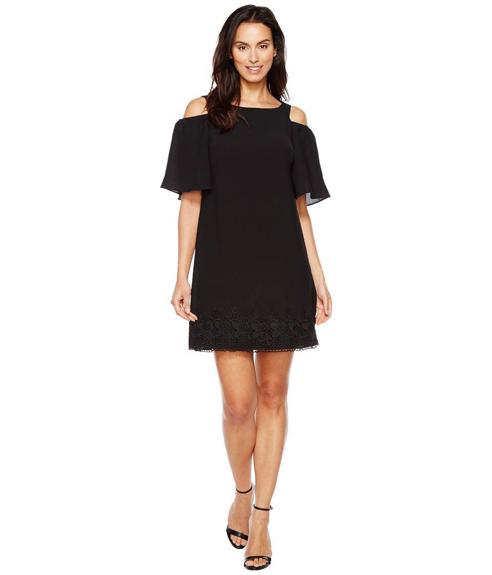 Adrianna Papell Gauzy Crepe Cold Shoulder Shift Dress w/ Elbow Sleeve (Black) Women