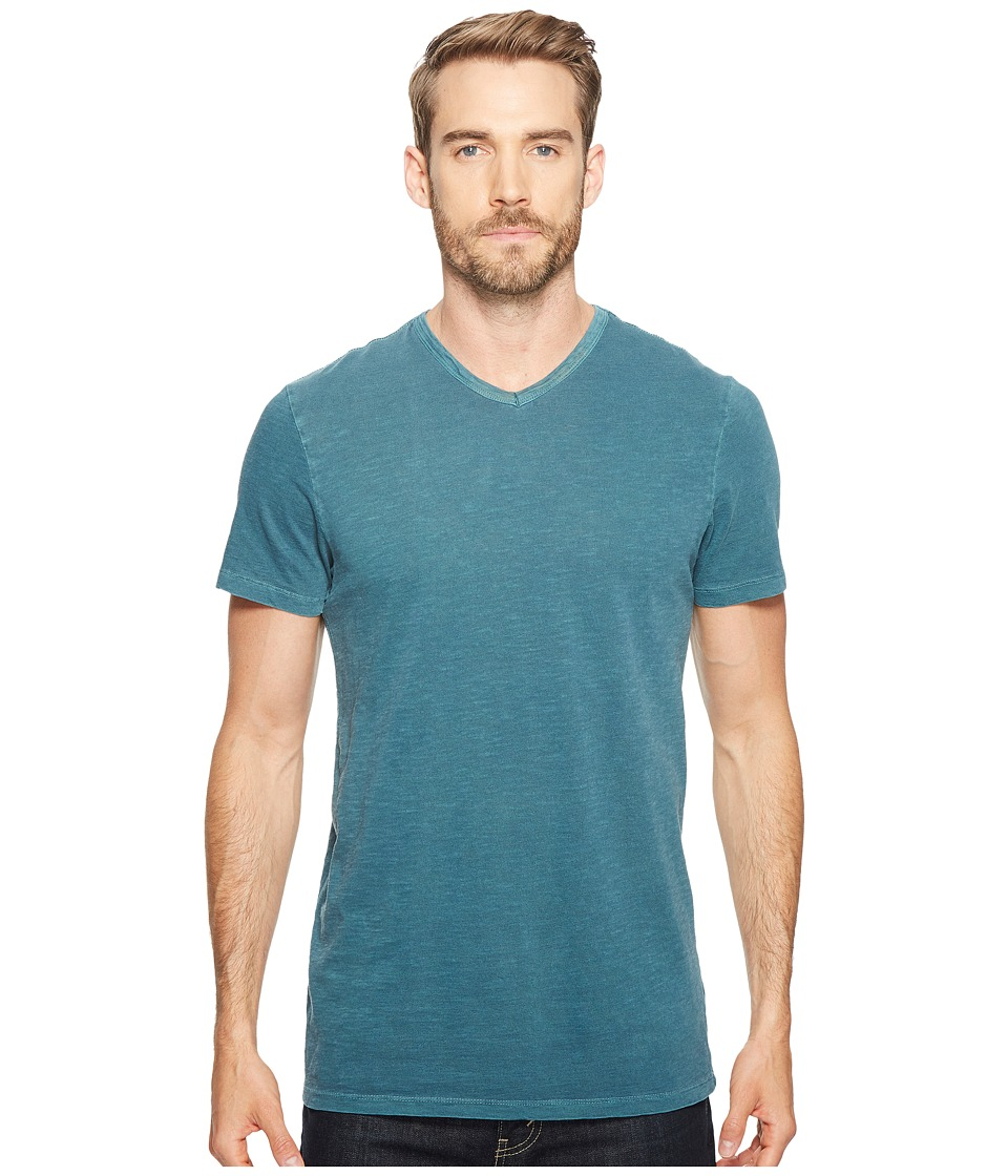 Alternative - Washed Slub Locals Only V-Neck (Coastal Teal Pigment) Men's Clothing