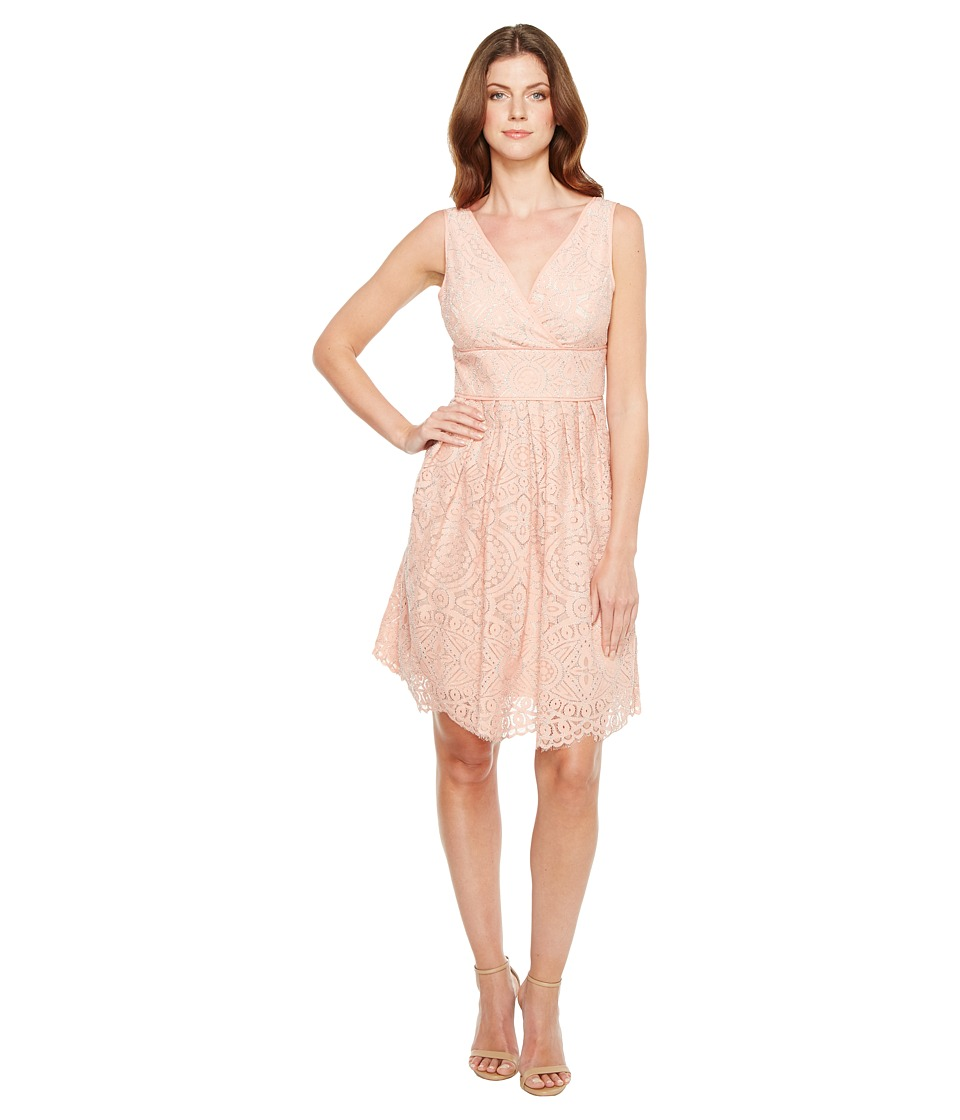 Adrianna Papell Ella Mosaic Lace V-Neck Fit and Flare Sleeveless Dress (Cantelope/Almond) Women