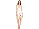Adrianna Papell - Ruling Orchid Printed Scuba Bateau Neckline A-Line Fit and Flare Dress