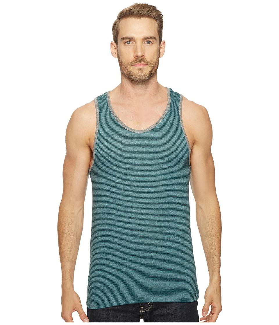 Alternative - Eco Jersey Yarn-Dye Stripe Marine Tank Top (Coastal Teal Overdye Seaside Stripe) Men's Clothing