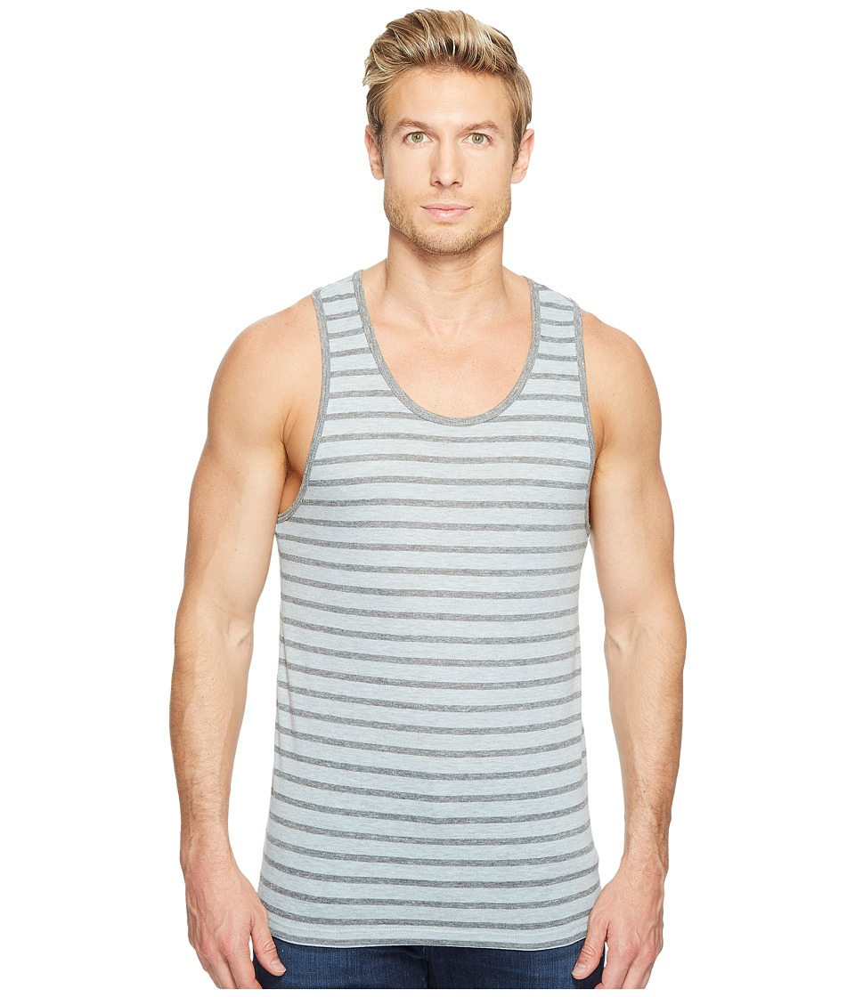Alternative - Eco Jersey Yarn-Dye Stripe Marine Tank Top (Mist Blue Overdye Riviera Stripe) Men's Clothing