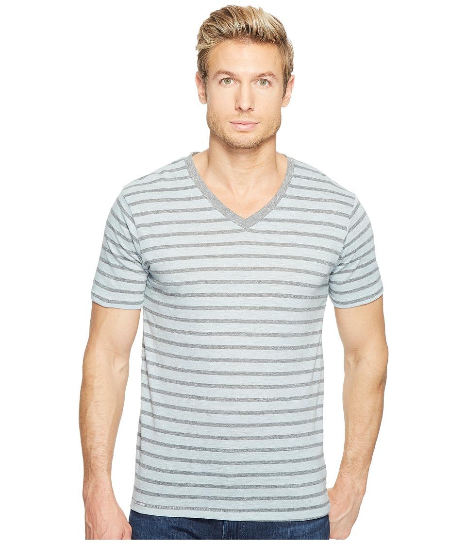 Alternative - Boss V-Neck (Mist Blue Overdye Riviera Stripe) Men's Clothing