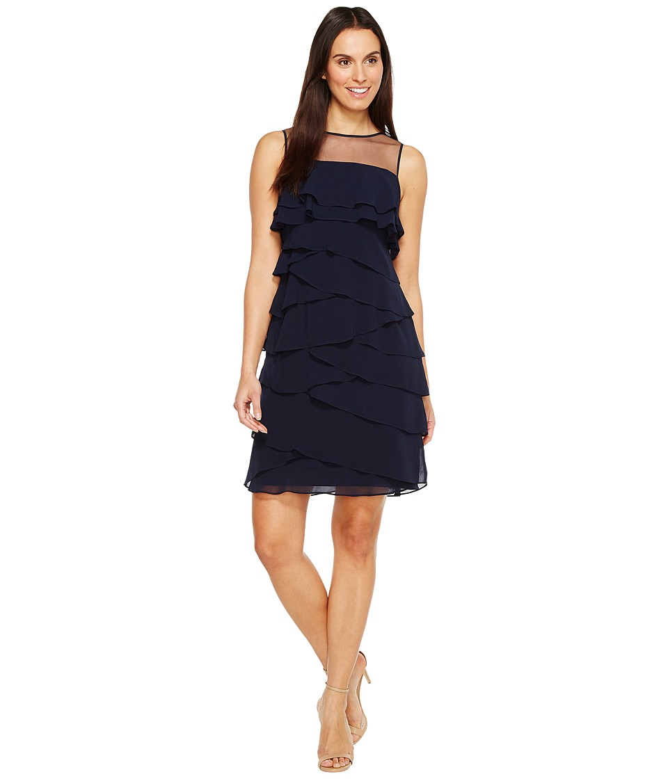 Adrianna Papell - Tiered Chiffon Shutter Tuck Sheath Dress w/ Illusion Neckline (Blue Moon) Women's Dress