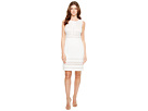 Adrianna Papell - Stretch Crepe Sheath Dress with Lace Mixing Details Sleeveless Dress