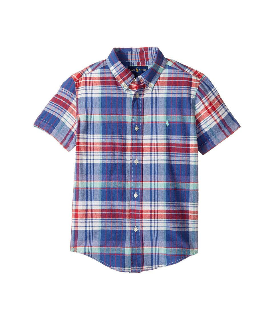 Polo Ralph Lauren Kids - Yarn-Dyed Madras Short Sleeve Button Down Top (Little Kids/Big Kids) (White/Green Multi) Boy's Short Sleeve Button Up
