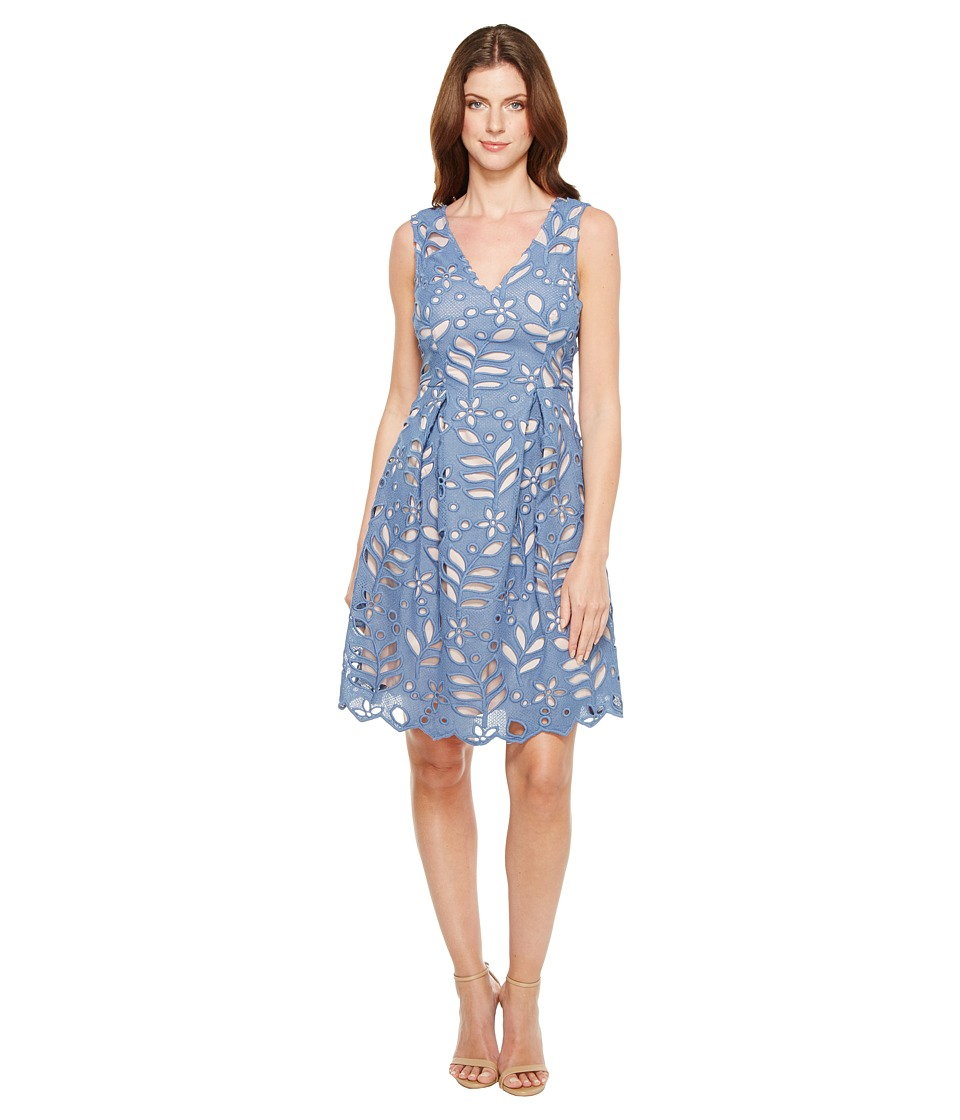 Adrianna Papell Bella Lace Fit and Flare A-Line Sleeveless V-Neck Dress (Steel Blue/Blush) Women