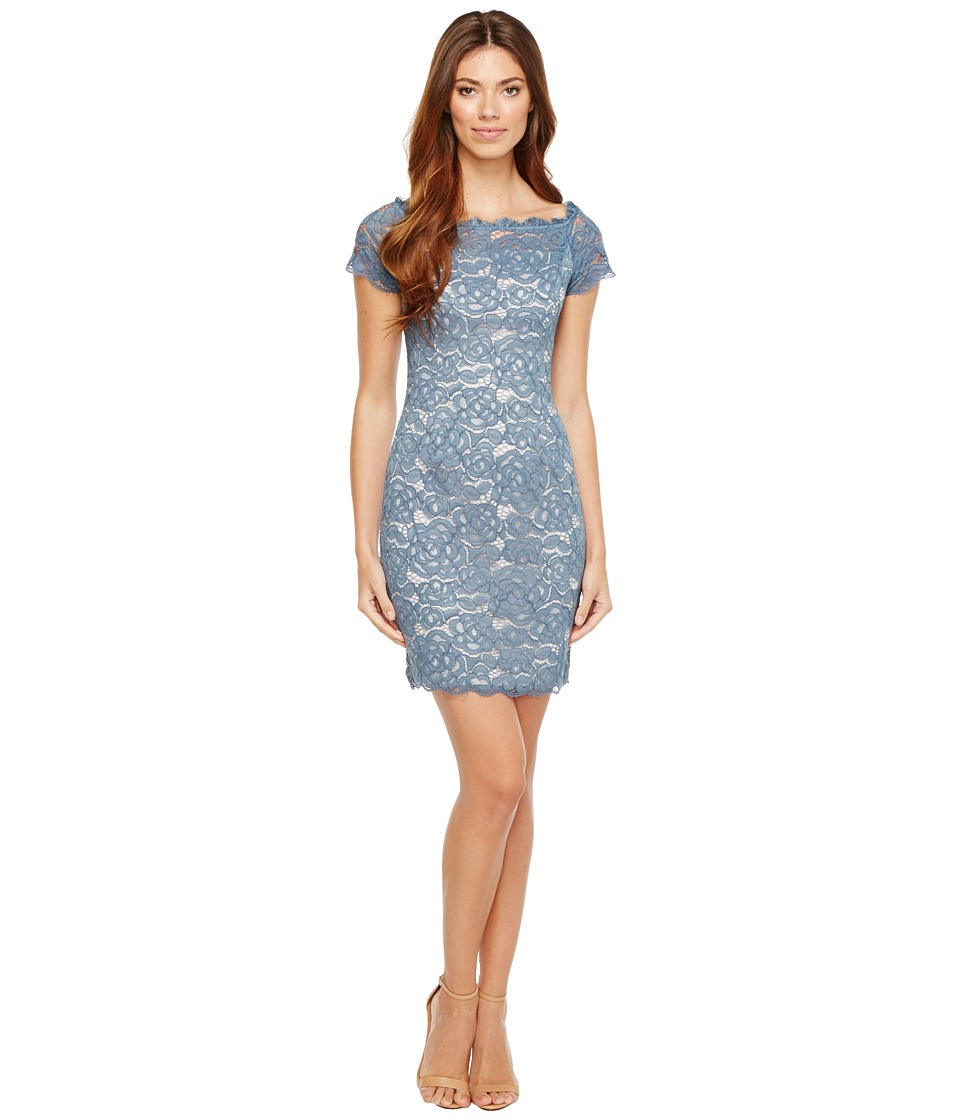 Adrianna Papell Off the Shoulder Lace Sheath Dress