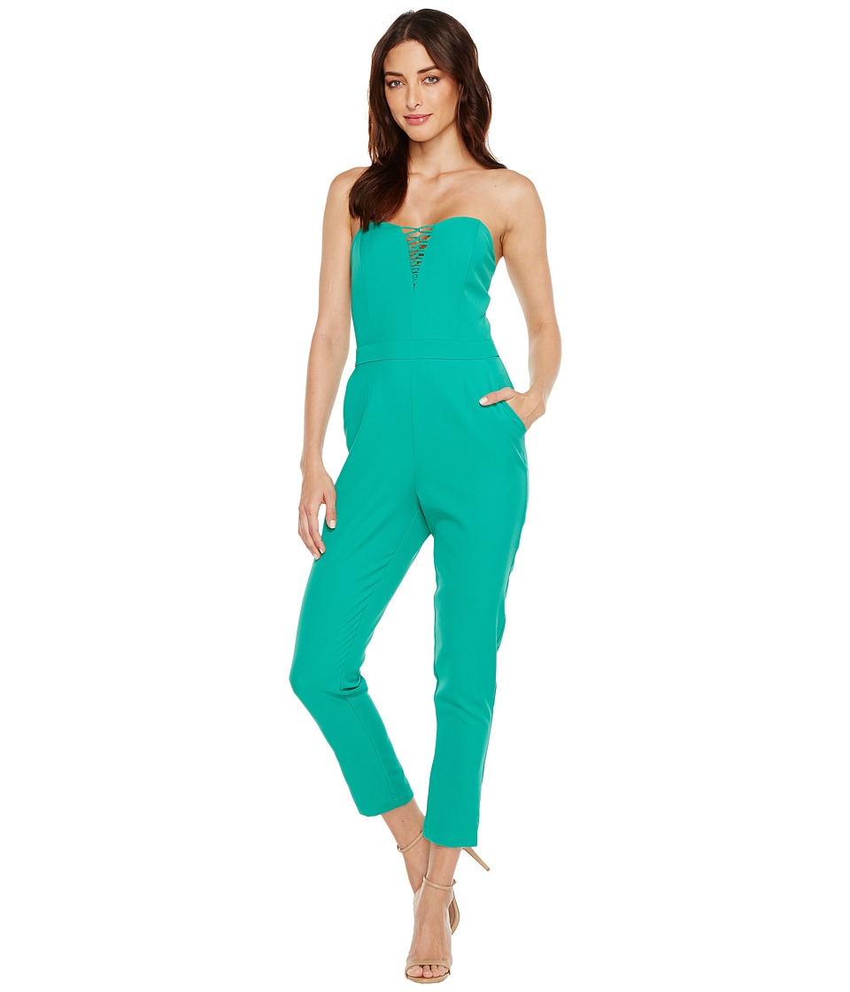 Adelyn Rae - Henley Woven Jumpsuit (Emerald) Women's Jumpsuit & Rompers One Piece