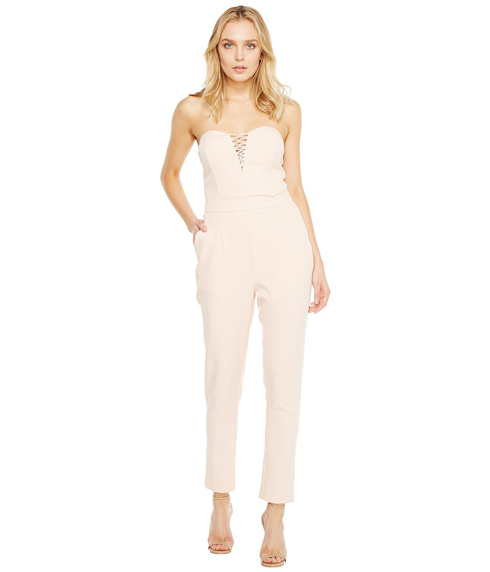 Adelyn Rae - Henley Woven Jumpsuit (Pink Sand) Women's Jumpsuit & Rompers One Piece