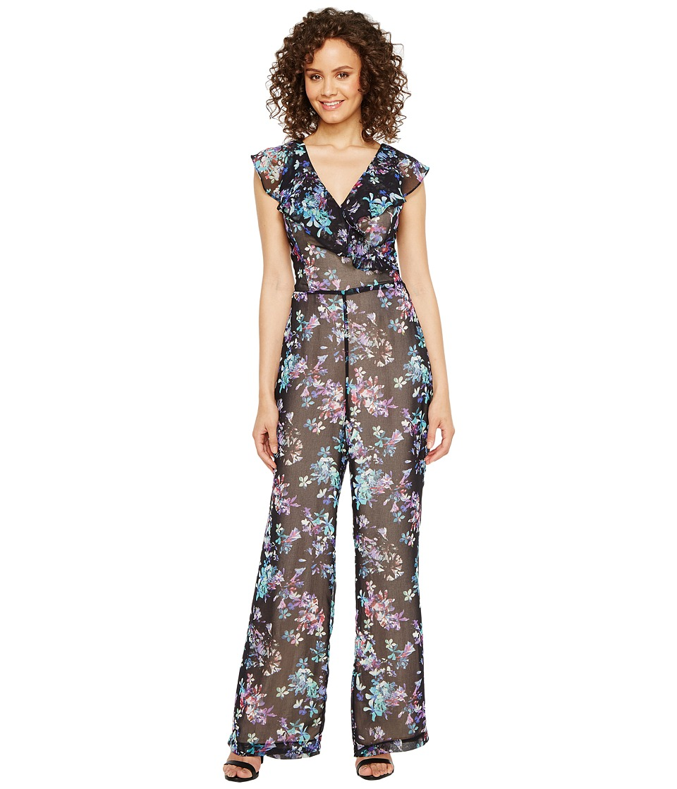 Adelyn Rae - Genevieve Frill Jumpsuit (Black/Turquoise) Women's Jumpsuit & Rompers One Piece