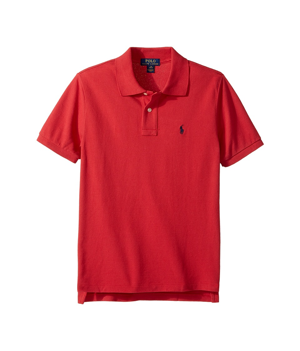 Polo Ralph Lauren Kids - Basic Mesh Short Sleeve Knit Collar Top (Big Kids) (Sunrise Red) Boy's T Shirt