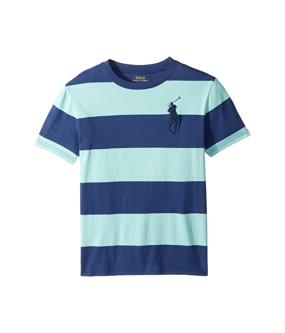 Polo Ralph Lauren Kids - 30/1 Yarn-Dyed Jersey Short Sleeve Crew Neck Striped Top (Big Kids) (Bayside Green Multi) Boy's T Shirt