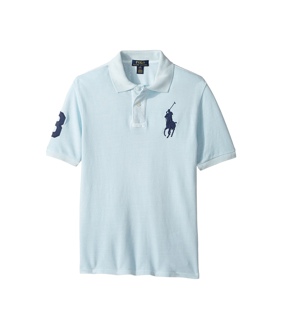 Polo Ralph Lauren Kids - Basic Mesh Dyed Short Sleeve Knit Collar Top (Big Kids) (Coastal Blue) Boy's T Shirt