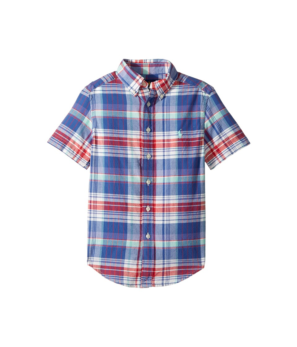 Polo Ralph Lauren Kids - Yarn-Dyed Madras Short Sleeve Button Down Top (Big Kids) (White/Green Multi) Boy's Short Sleeve Button Up