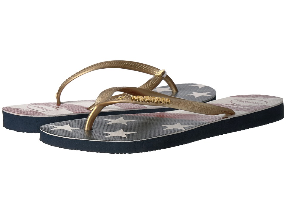 Havaianas Slim Wavy USA Flag Sandal (Navy Blue Flag) Women