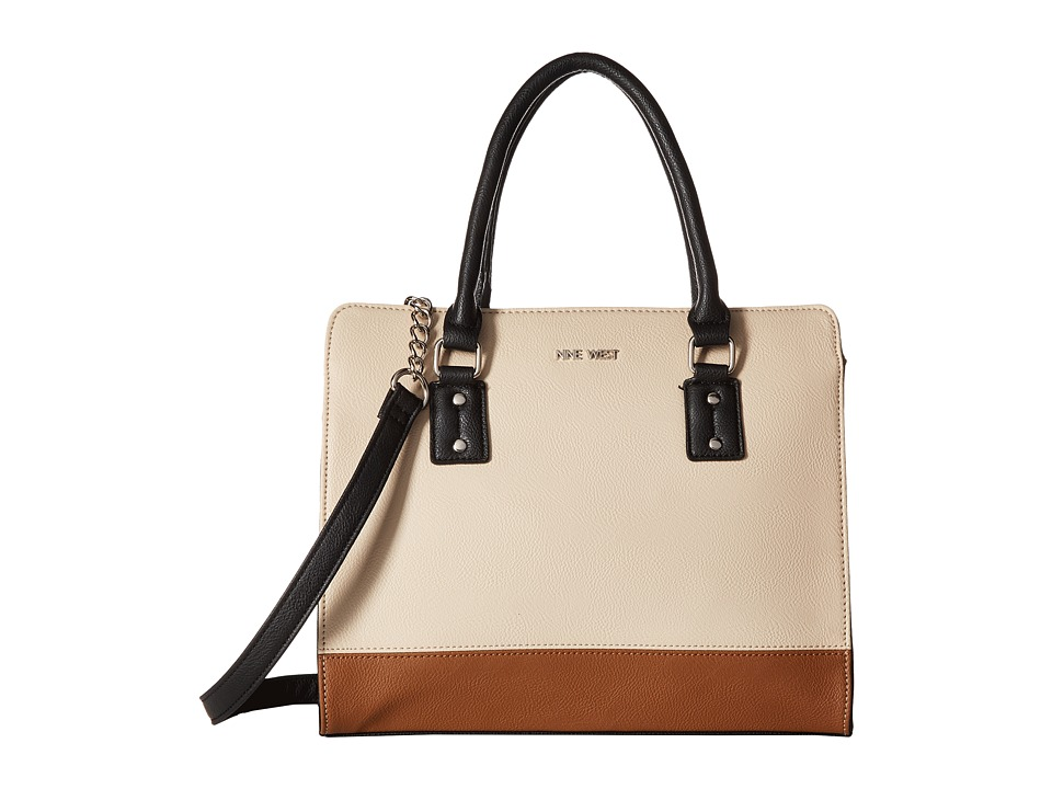 Nine West - You and Me Satchel (Beige/Tobacco/Black) Satchel Handbags