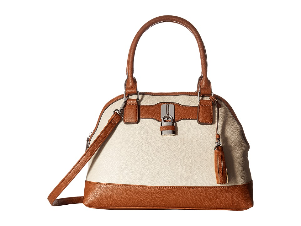 Nine West - Pop Lock (Beige/Tobacco) Handbags