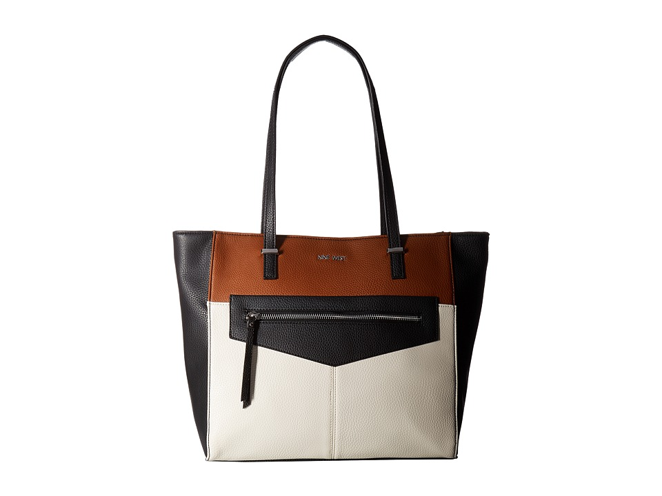 Nine West - Business Pockets (Black/Chalk/Tobacco) Handbags