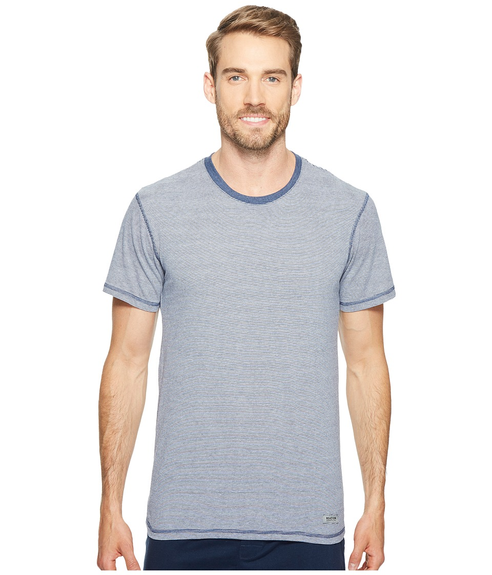 Kenneth Cole Reaction - Short Sleeve Crew Neck Jersey Tee (Medieval Blue Pinstripe) Men's T Shirt