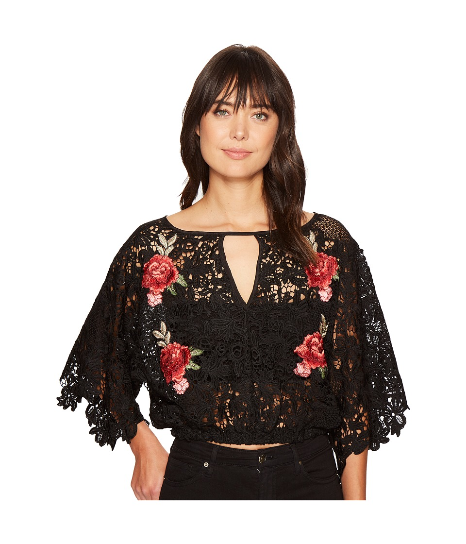 ROMEO & JULIET COUTURE - Embroidered Rose Lace All Over Top (Black) Women's Clothing