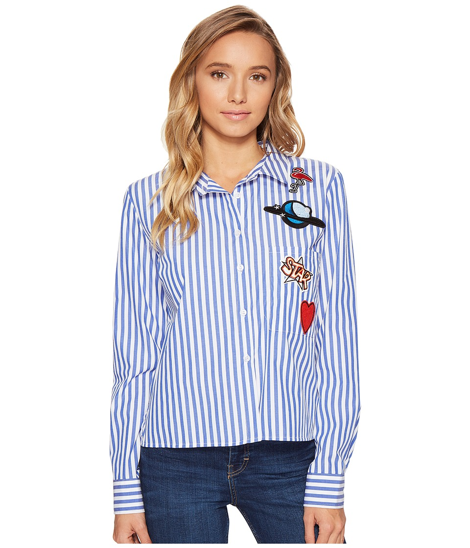 ROMEO & JULIET COUTURE - Stripe Shirt with Patches (Blue) Women's Clothing