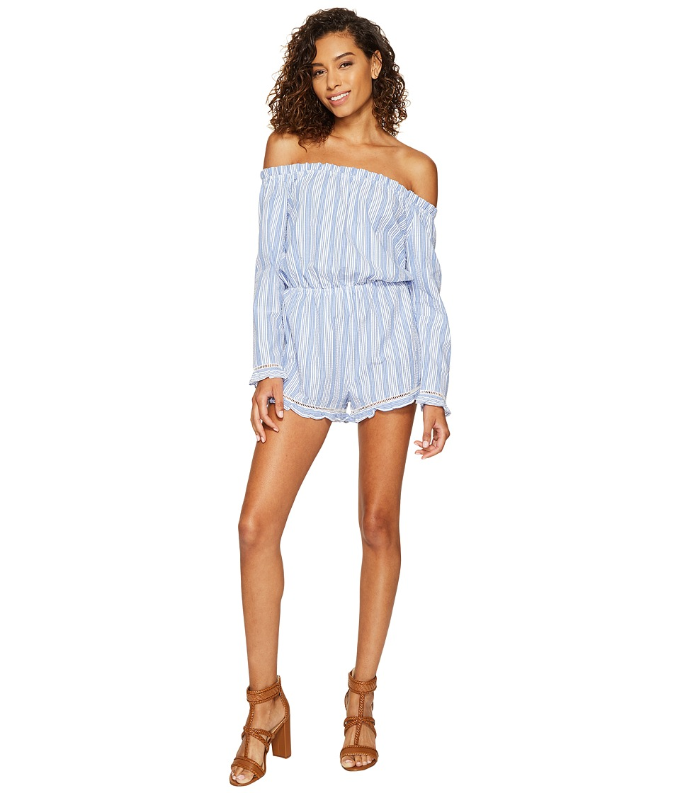 ROMEO & JULIET COUTURE - Off Shoulder Embroidered Romper (Blue) Women's Jumpsuit & Rompers One Piece