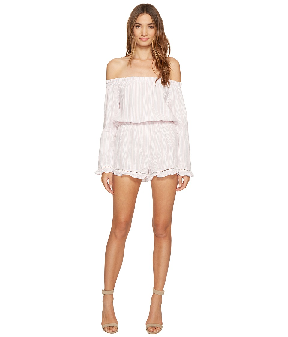 ROMEO & JULIET COUTURE - Off Shoulder Embroidered Romper (Pink) Women's Jumpsuit & Rompers One Piece