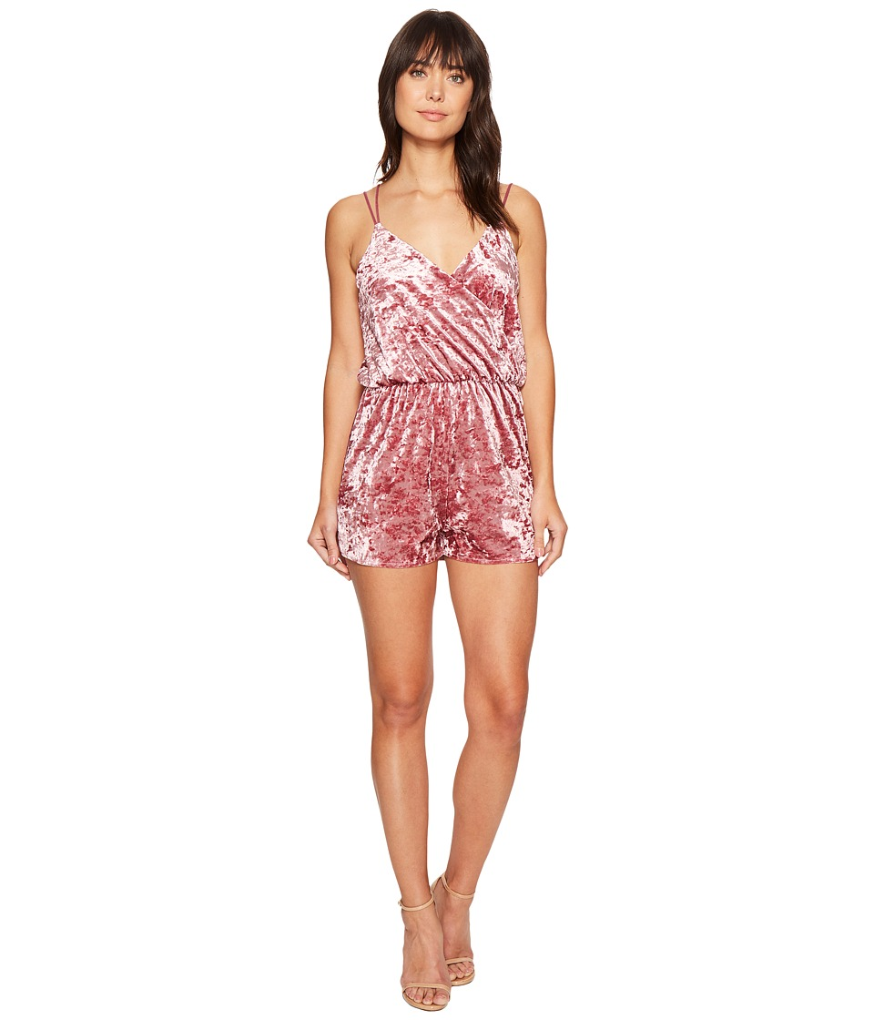ROMEO & JULIET COUTURE - Rushed Velvet Wrap Romper (Rose) Women's Jumpsuit & Rompers One Piece
