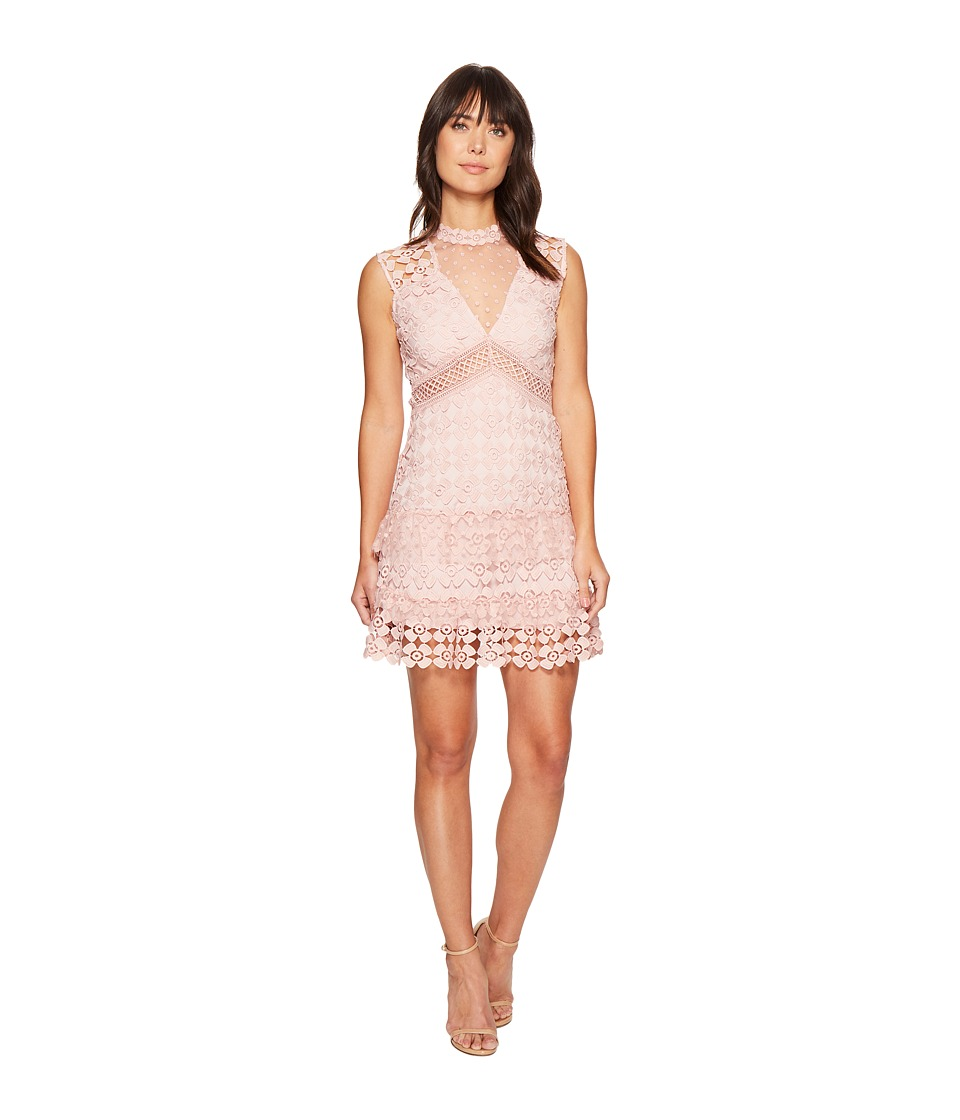 ROMEO & JULIET COUTURE - Crochet Solid Color Lace Dress (Dusty Pink) Women's Dress