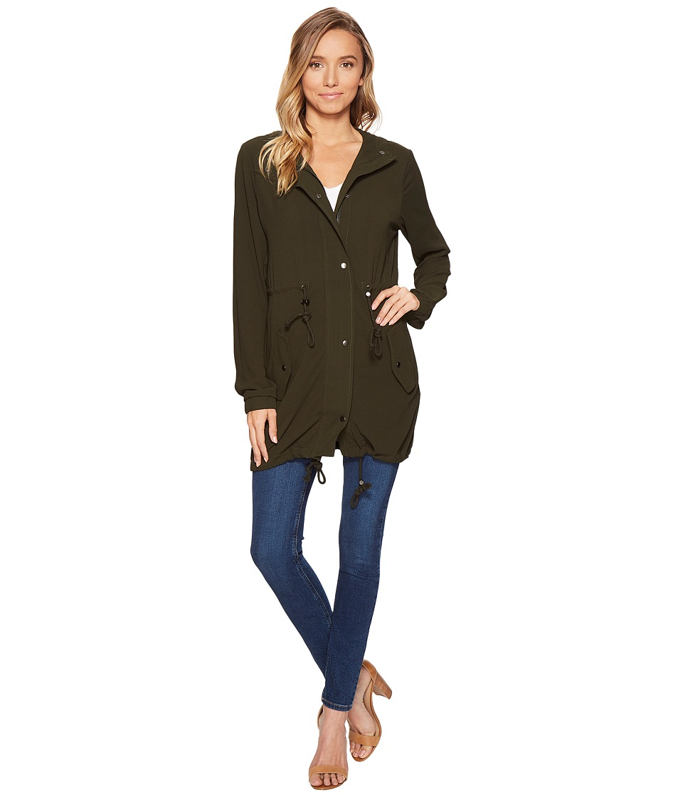 ROMEO & JULIET COUTURE - Hooded Parka Jacket (Olive) Women's Coat