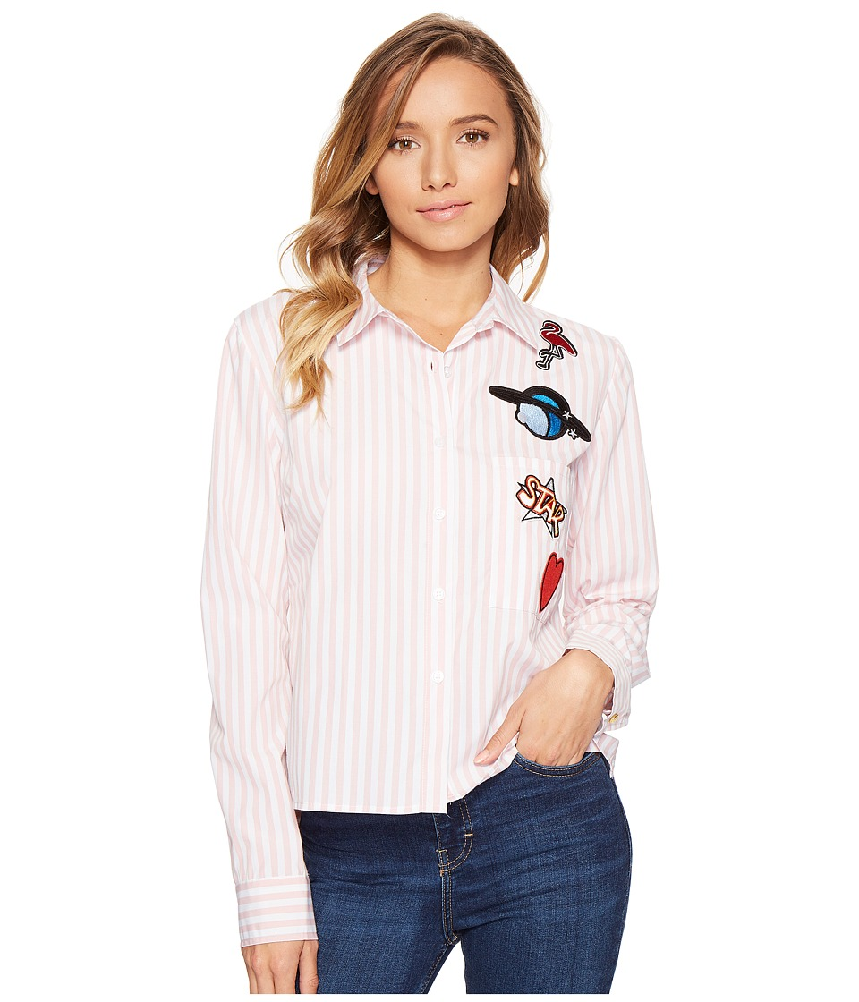 ROMEO & JULIET COUTURE - Stripe Shirt with Patches (Dusty Pink) Women's Clothing