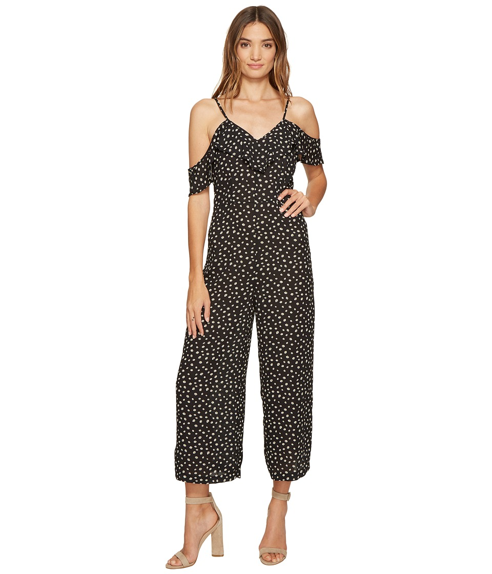 ROMEO & JULIET COUTURE - Ruffle Sleeves Floral Printed Jumpsuit (Black) Women's Jumpsuit & Rompers One Piece