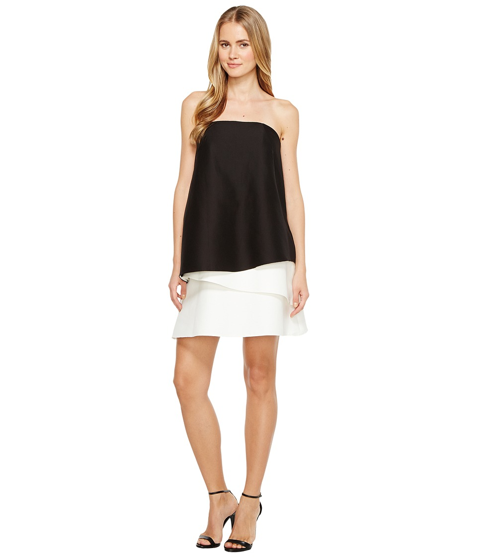 Halston Heritage - Strapless Tiered Color Block Dress (Black/Chalk) Women's Dress