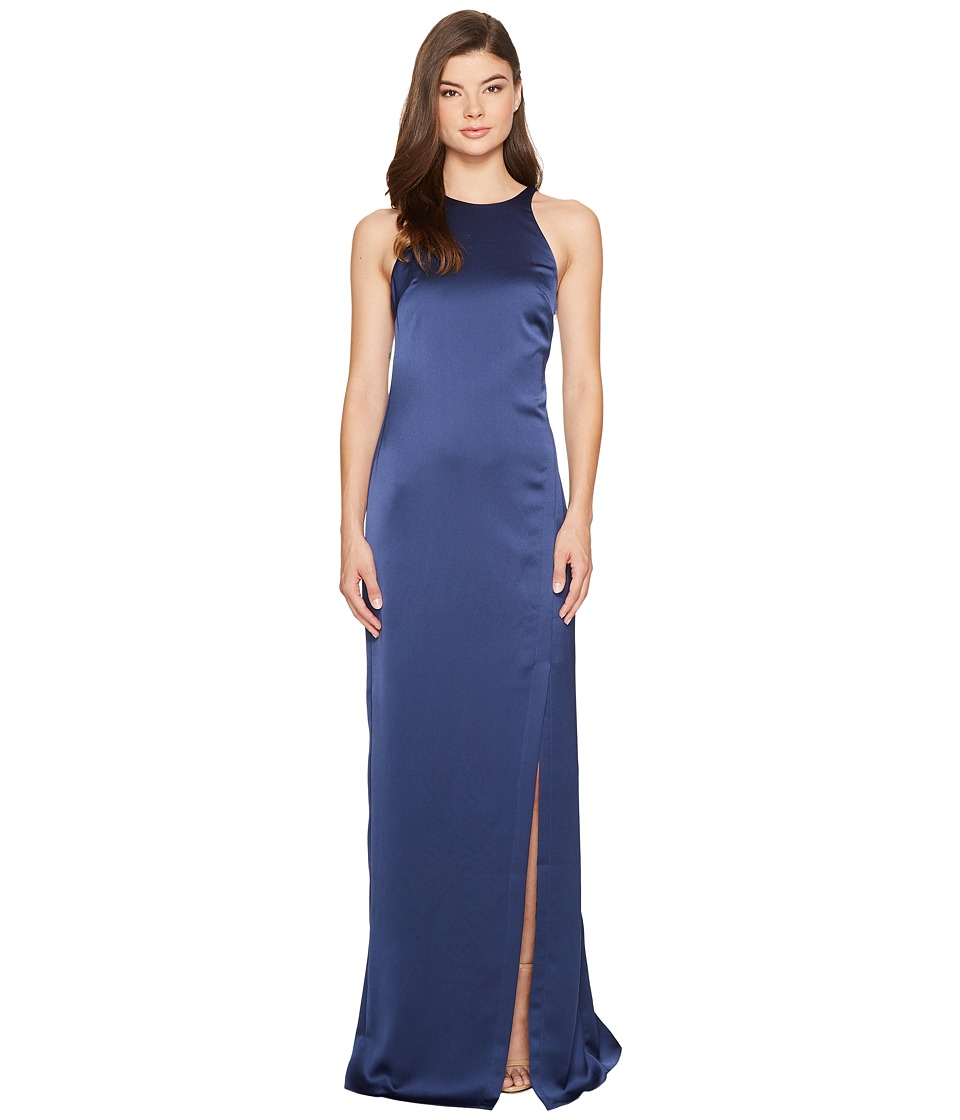 Halston Heritage - Sleeveless High Neck Satin Gown w/ Back Drape (Navy) Women's Dress