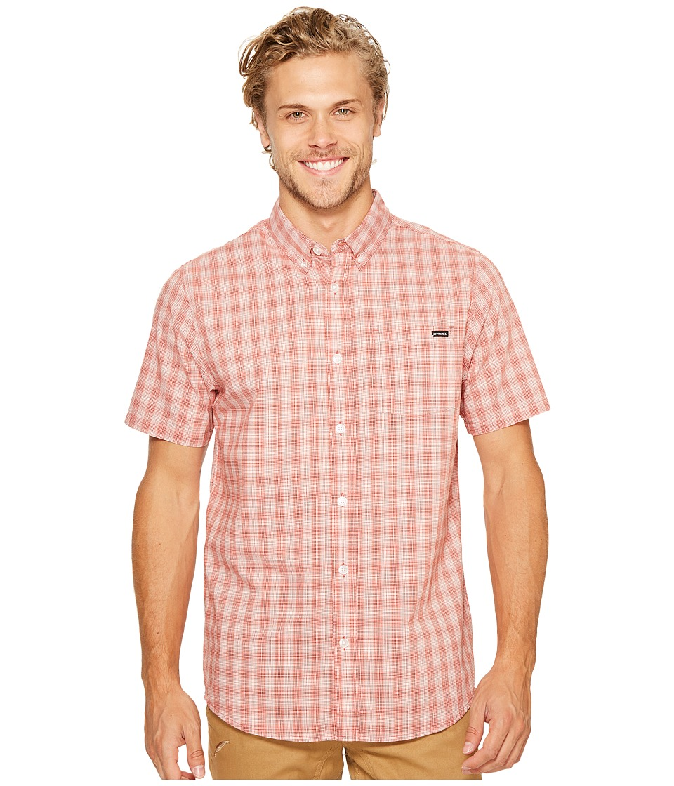 O'Neill - O'Neill Check Short Sleeve Woven (Brick) Men's Clothing