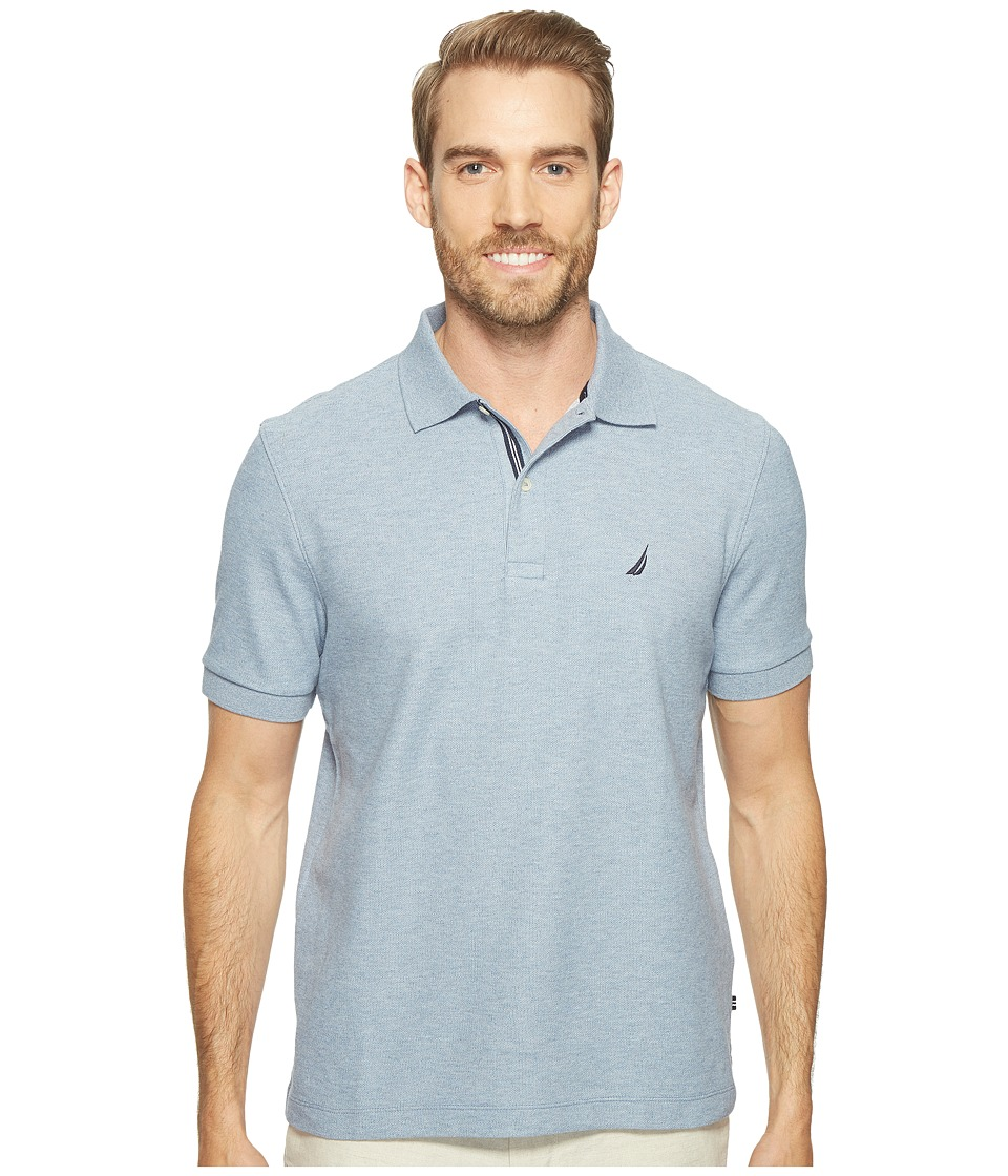 Nautica - Short Sleeve Solid Deck Shirt (Deep Anchor Heather) Men's Short Sleeve Knit