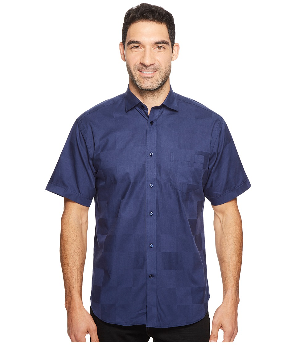 Thomas Dean & Co. - Short Sleeve Large Tonal Check Sport Shirt (Indigo) Men's Clothing