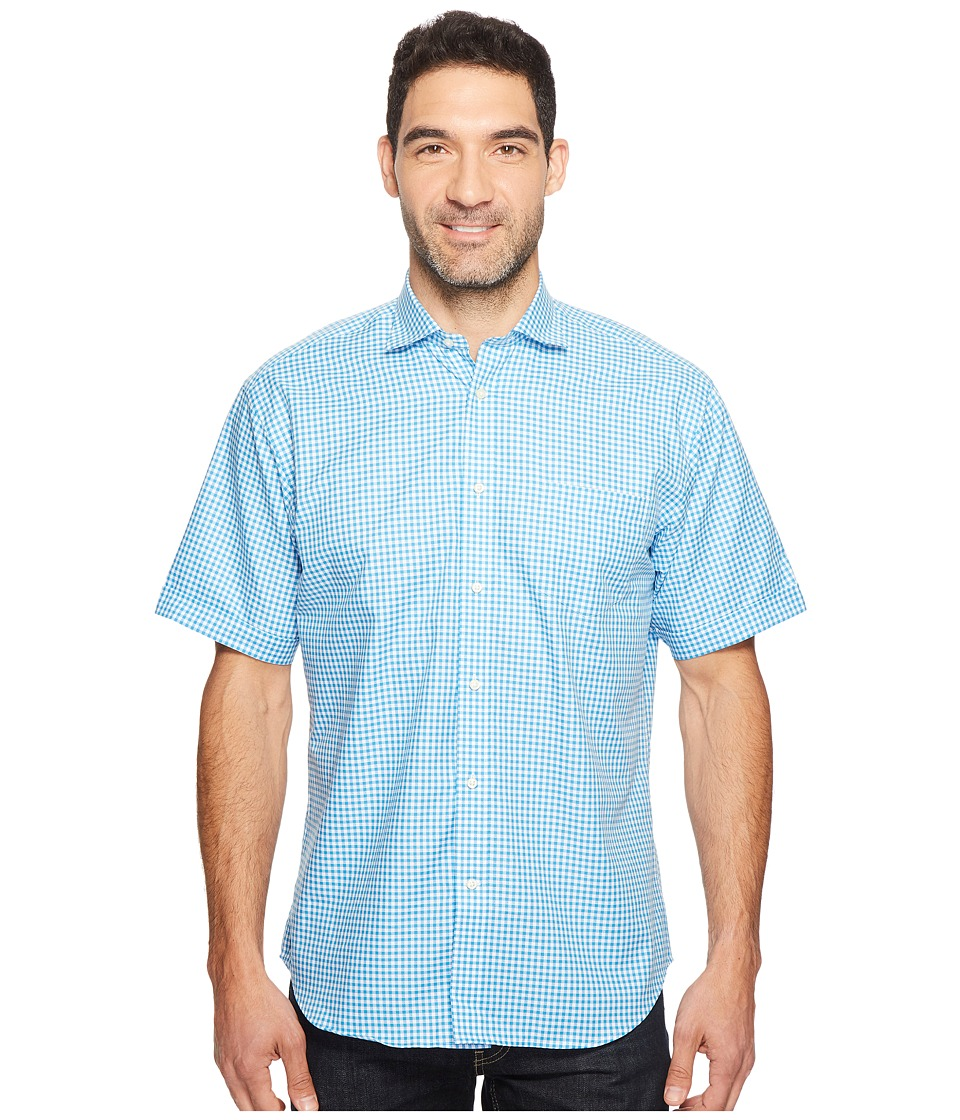 Thomas Dean & Co. - Short Sleeve Gingham Check Sport Shirt (Aqua) Men's Clothing