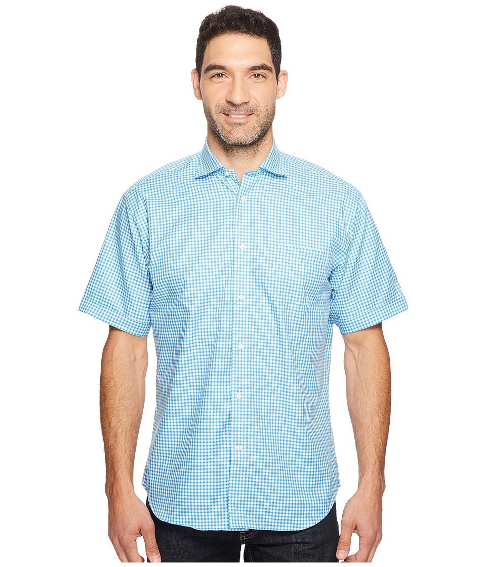Thomas Dean & Co. - Short Sleeve Gingham Check Sport Shirt (Aqua) Men's Clothing
