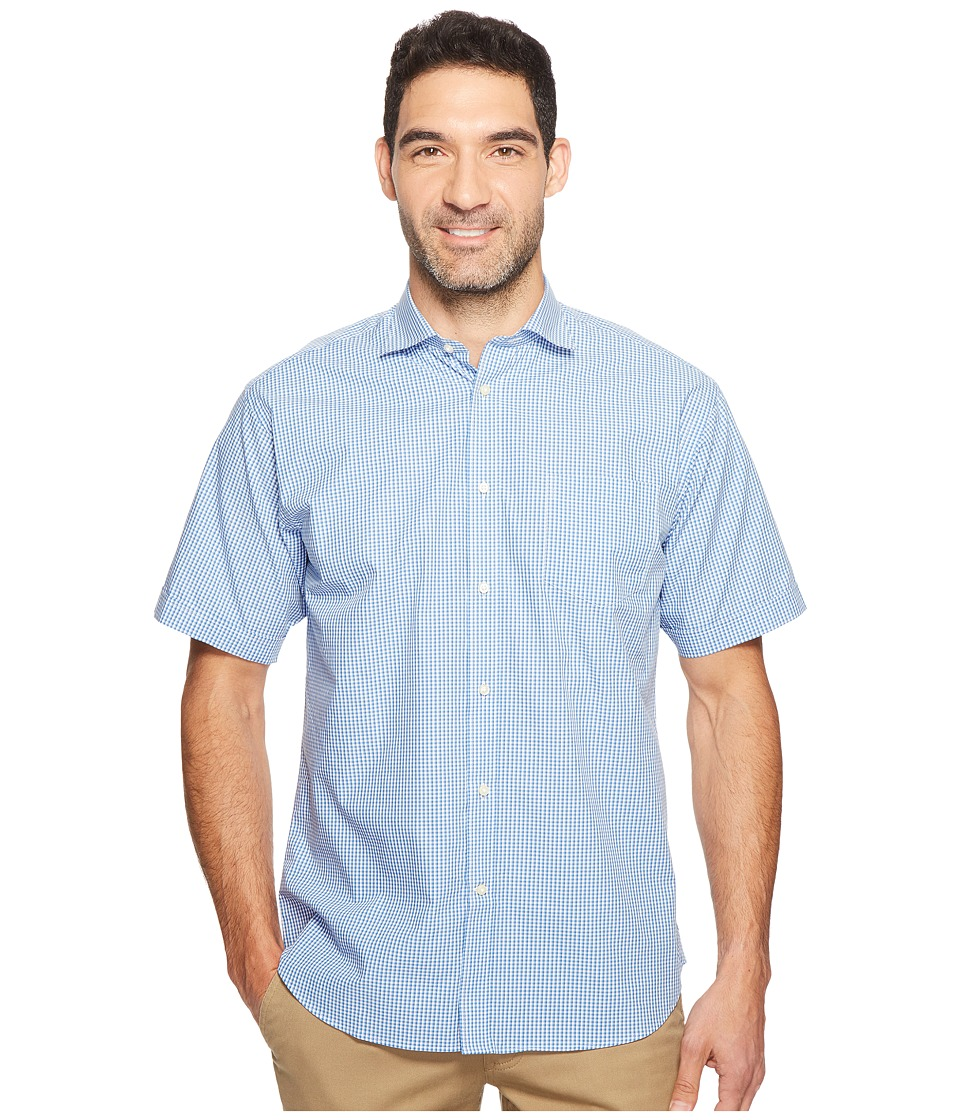 Thomas Dean & Co. - Short Sleeve Mini Check Sport Shirt (Blue) Men's Clothing