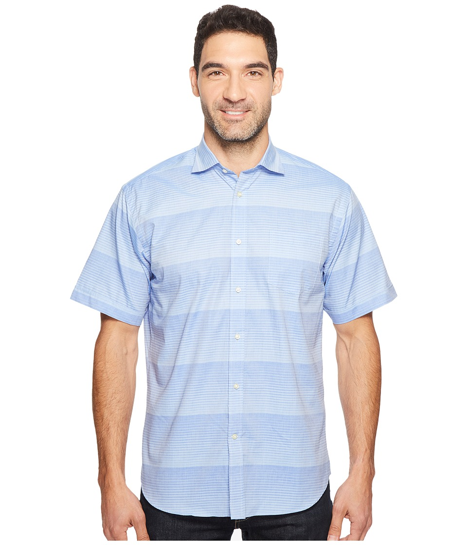 Thomas Dean & Co. - Short Sleeve Horizontal Stripe Sport Shirt (Blue) Men's Clothing