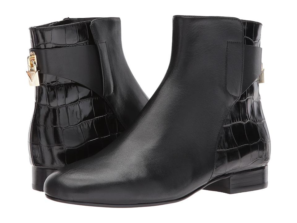 MICHAEL Michael Kors Mira Flat Bootie (Black Vachetta/Embossed Croco) Women