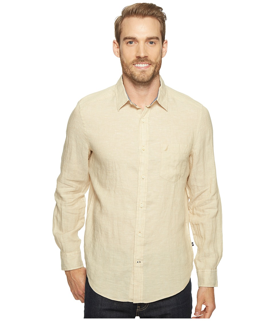 Nautica - Long Sleeve Resort Solid Linen (Sandy Bar) Men's Clothing