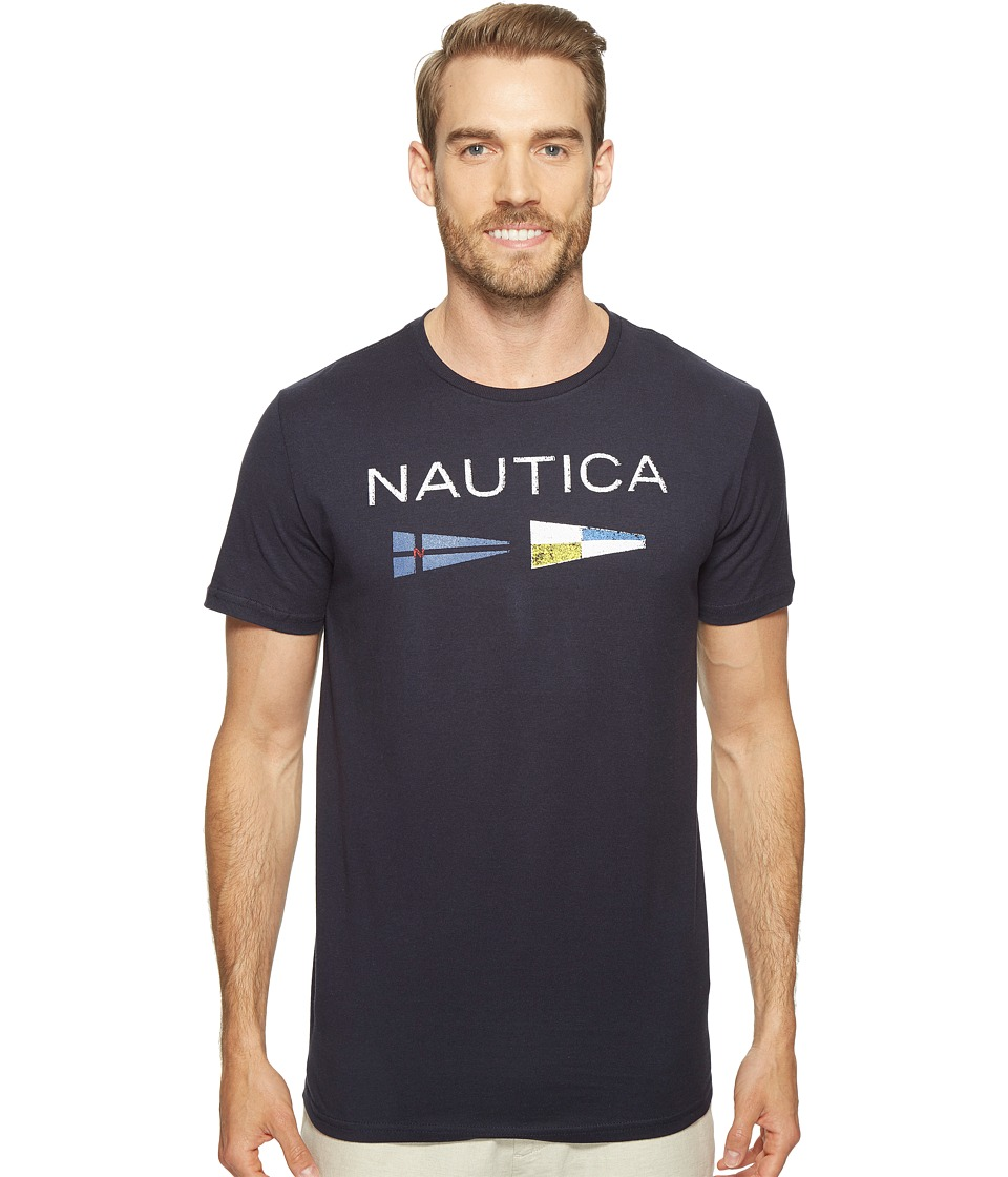 Nautica - Nautica Flags Tee (Navy) Men's Clothing