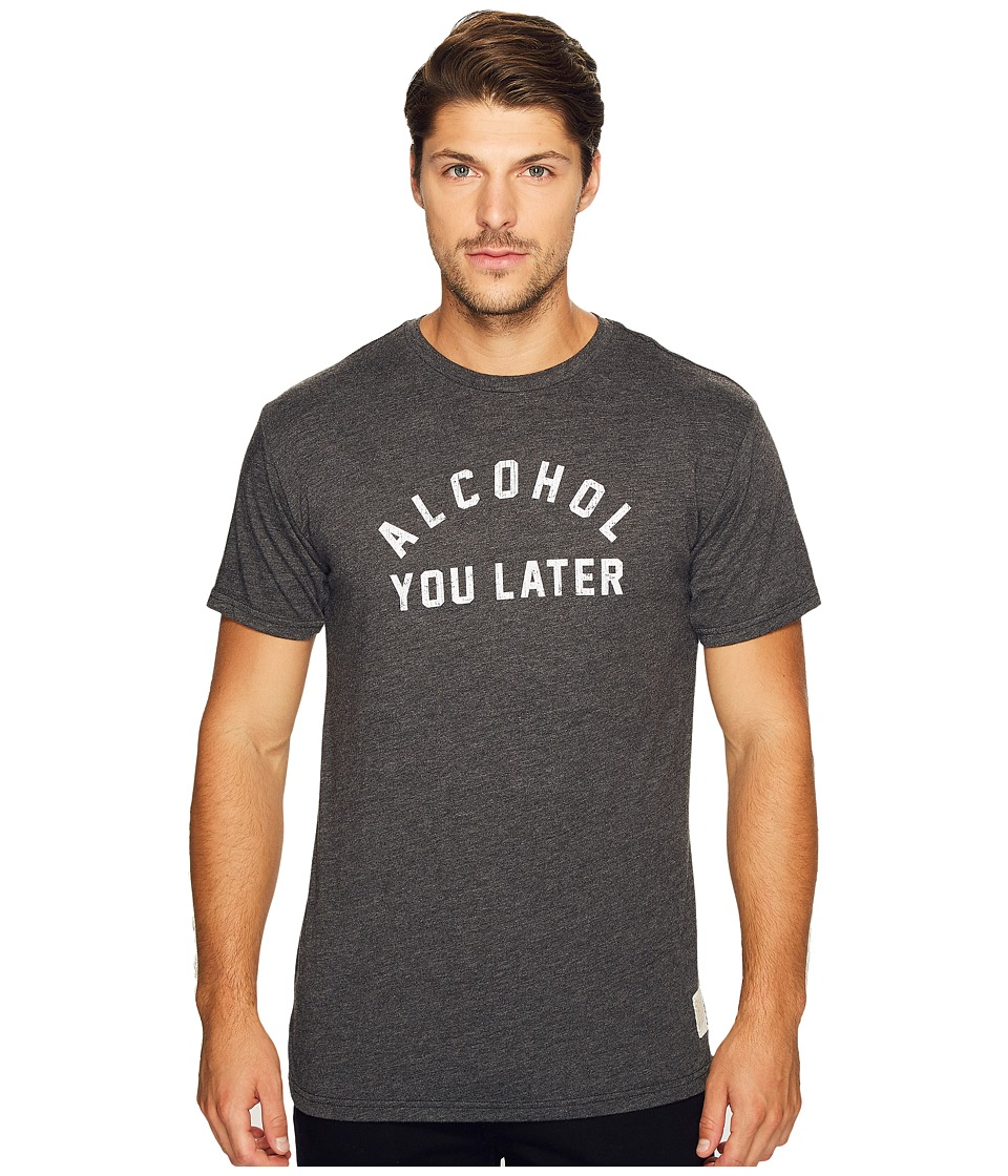The Original Retro Brand - Alcohol You Later Short Sleeve Heathered Tee (Heather Black) Men's T Shirt
