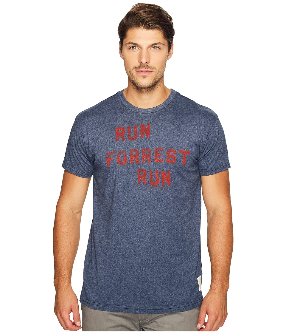 The Original Retro Brand - Run Forest Run Short Sleeve Heathered Tee (Heather Navy) Men's T Shirt