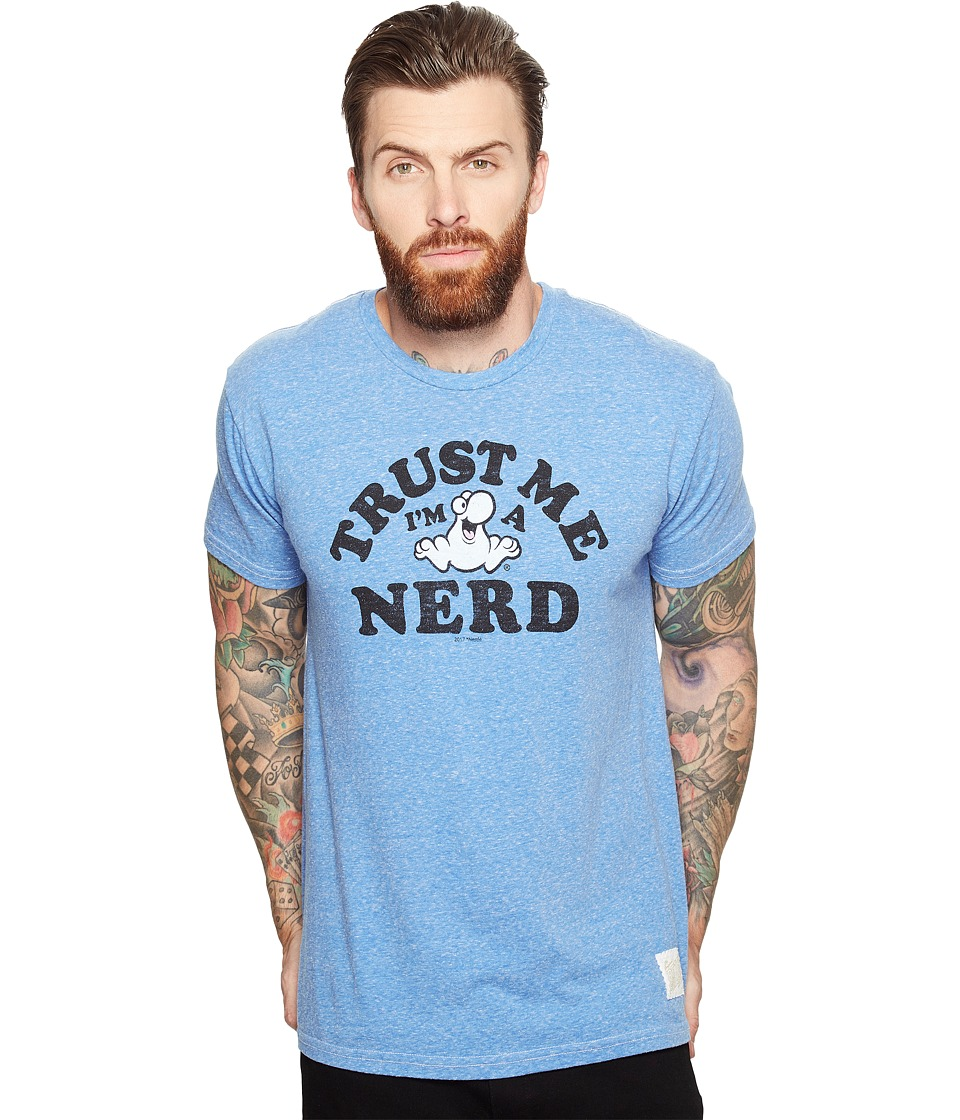 The Original Retro Brand - Trust Me I'M A Nerd Short Sleeve Tri-Blend Tee (Streaky Blue) Men's T Shirt