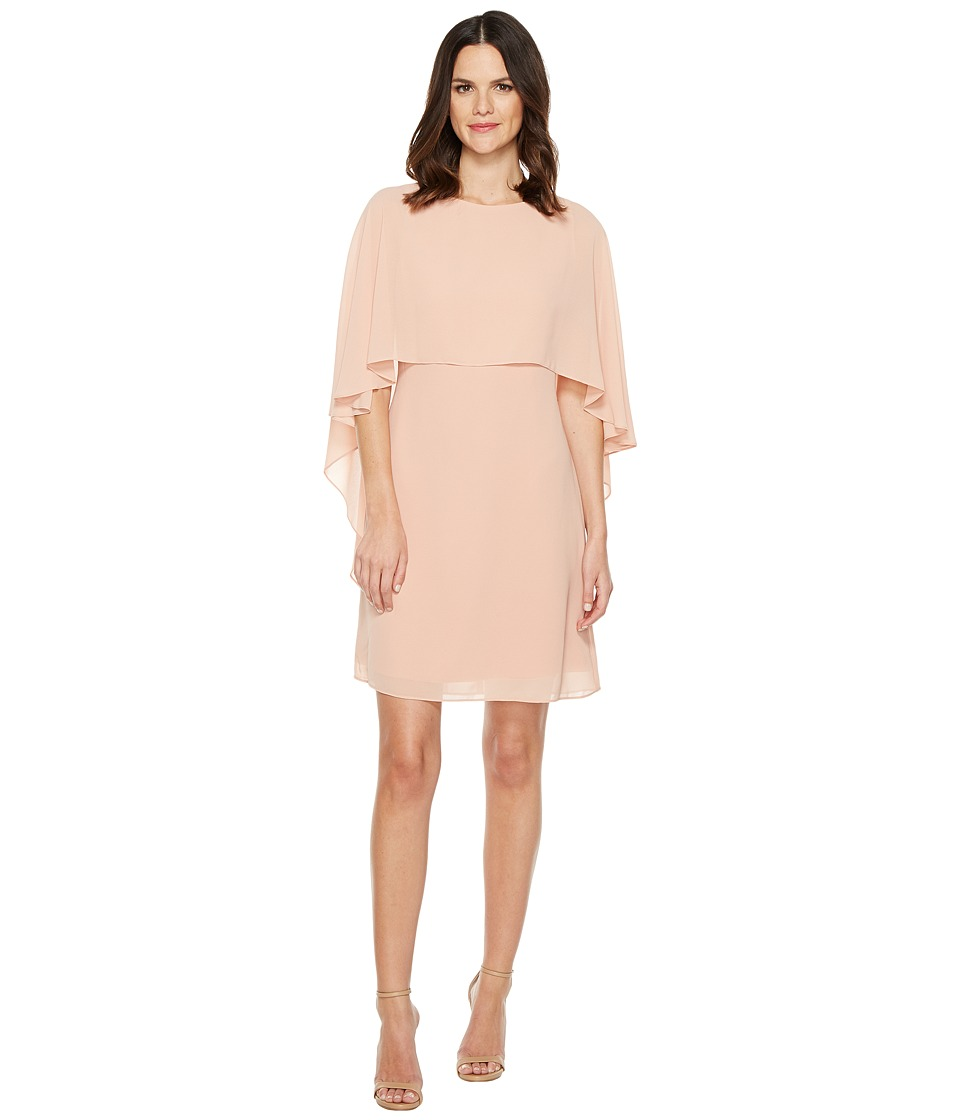 Vince Camuto - Dress with Bateau Neckline and Cape Back Overlay (Blush) Women's Dress